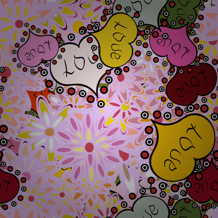 Grunge. Hand drawn loves hearts. Seamless Heart love. Valentine card love hearts on neutral, yellow and pink colors. Doodles. Vector illustration. Sketch designed loves heart. Graphic hearts love. Illustration