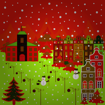 Nordic nature landscape concept. Scandinavian style on red, green and brown colors. Vector. Perfect for kids fabric, textile, nursery wallpaper. Childish pattern with house and trees.
