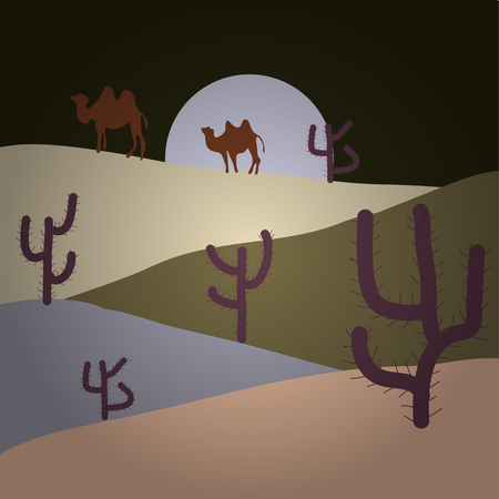 Vector game graphic. Background of landscape with desert and cactus on gray, beige and brown colors. Sunset on a background of a mountain landscape. Illustration
