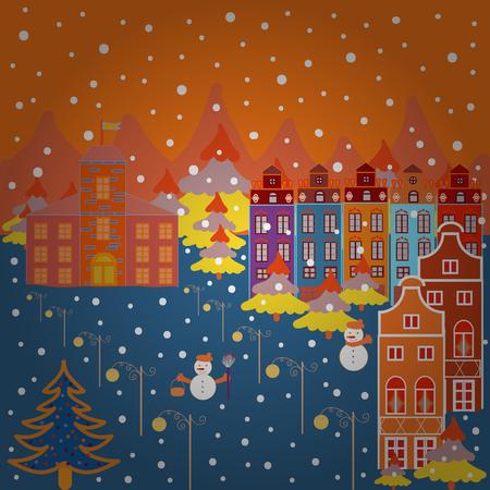 Illustration on orange, blue and white colors. Vector illustration. Pattern houses.