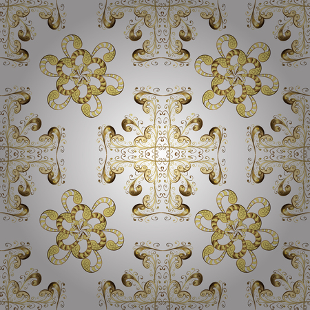 Classic vector golden seamless pattern. Floral ornament brocade textile pattern, glass, metal with floral pattern on white, beige and yellow colors with golden elements.