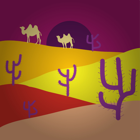 Pictures on purple, yellow and beige colors. Vector. Background scene with cactus in desert illustration.