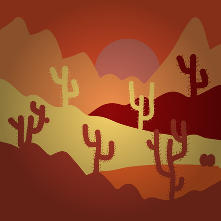 Vector illustration. Desert on orange, yellow and red background for your web and mobile app design, Desert  concept.