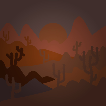 Composition. Desert texas landscape. Vector cartoon desert with road, cactuses and rock mountains. Illustration on brown colors.