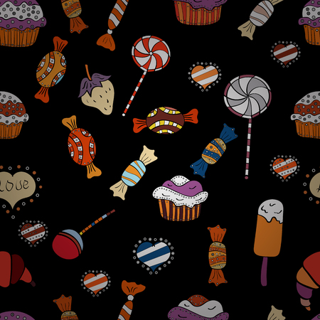 Vector. Cute hand drawn dessert illustration seamless pattern with black, orange and white background.