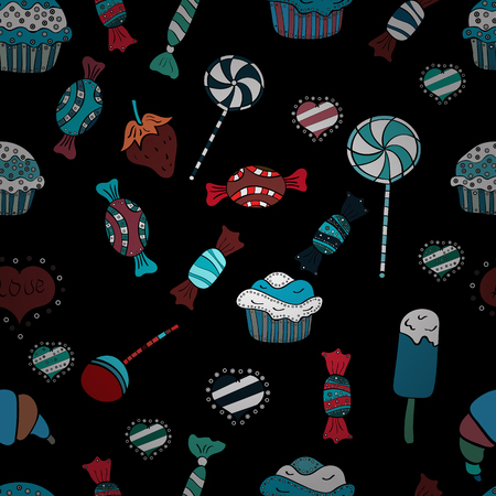 Bright seamless vector confetti party pattern. Colorful sugar sprinkle, candy or bakery design on a black, blue and white background.
