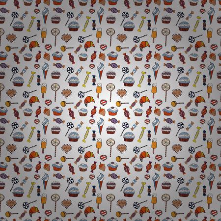 Fond de vecteur à la mode. Sur les couleurs blanc, orange et noir. Modèle sans couture coloré avec style géométrique abstrait de bonbons. Vecteurs