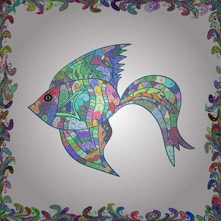 Seamless colorful background. Cute texture fish pattern. Vector illustration. Fishes on white, blue and neutral colors.