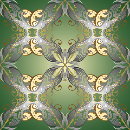 Vintage baroque floral ornamental pattern in gold over green, gray and neutral. Luxury, royal and Victorian concept. Golden element on green, gray and neutral colors. Ornate vector decoration. #ABFHUV Illustration