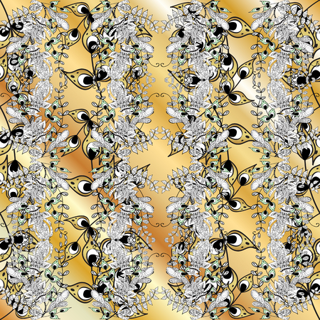 Ornamental oriental ornament in the style of baroque. Traditional classic golden vector pattern on white, beige and gray colors with golden elements. #ABFHUV