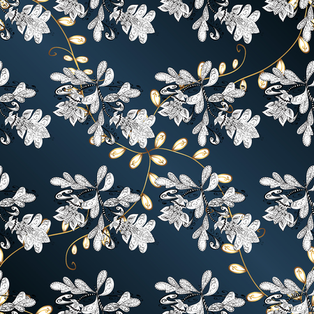 Ornamental golden pattern. Vector oriental ornament. Golden pattern on blue, white and gray colors with golden elements. #ABFHUV