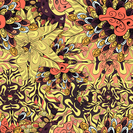 Illustration. Vector texture. Seamless pattern Beautiful fabric background. Doodles on a yellow, black, brown and orange colors. Foto de archivo - 112300308