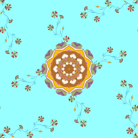 Flat Flower Elements Design. Vector Fashionable fabric pattern. Cute flowers pattern with blue, neutral and green colors. Colour Spring Theme seamless pattern Background.