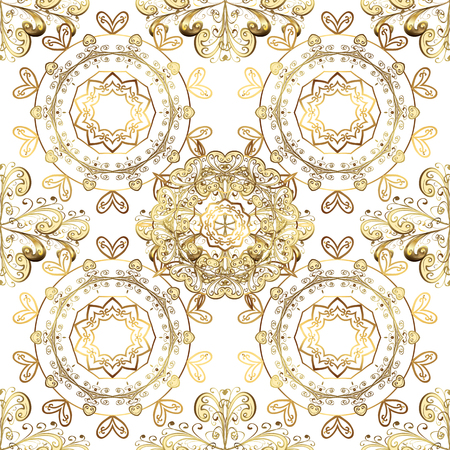 Golden ornamental pattern on white, beige and brown colors with golden elements. Ornamental vintage pattern on white, beige and brown colors with golden elements. Christmas, snowflake, new year. Vectores