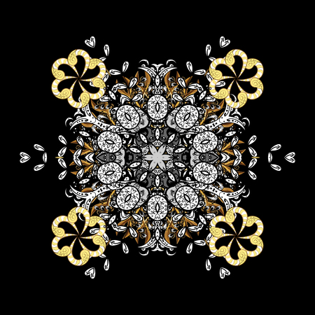 Christmas Stylized black, white and gray Snowflakes on a black, white and gray colors. Vector illustration. Ilustração