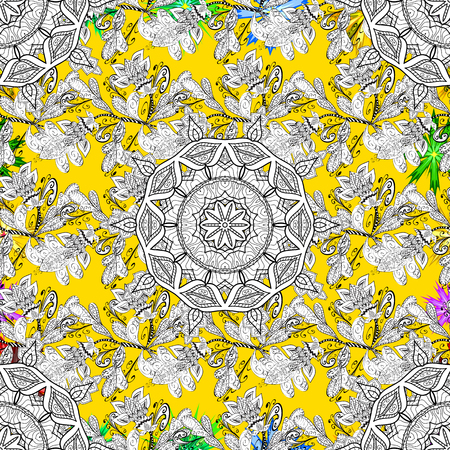 Ornamental doodle white, yellow and black colors. Vector nature seamless pattern with abstract ornament. Vector round mandala in childish style. 스톡 콘텐츠 - 112046360