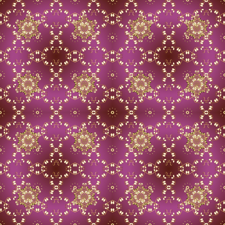 Vector calligraphy swirls, swashes, ornate motifs and scrolls. Flourish labels. Pictures in purple, brown and beige colors. Seamless pattern. Background for Fabric, Textile, Print and Invitation.