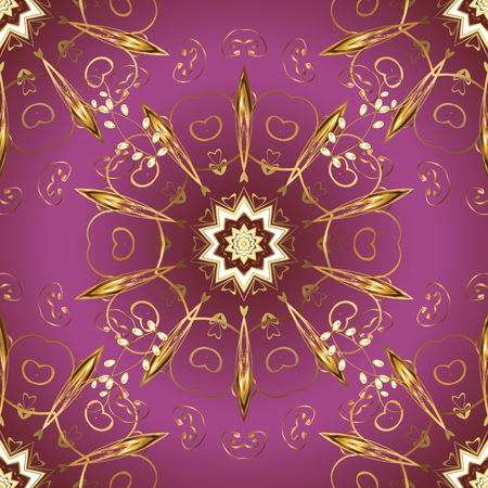 Abstract background. Vector. Illustration in purple, brown colors. Oriental traditional hand painted seamless border for design. Paisley watercolor floral pattern tile with flowers, flores, leaves. Ilustração