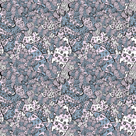 Neutral, black and blue on colors. Doodles cute pattern. It can be used on wallpaper, mug prints, baby apparels, wrapping boxes etc. Seamless Beautiful fabric pattern. Nice background. Vector - stock. Çizim