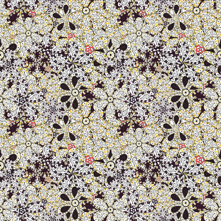 Flowers on white, black and purple colors. Seamless pattern with flowers. Watercolor illustration. Hand drawn. Vettoriali