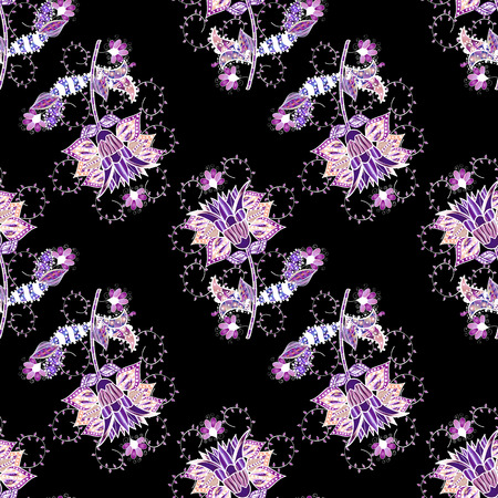 Seamless Chichi fabric pattern. Colour Spring Theme seamless pattern Background. Vector illustration. Flat Flower Elements Design. Flowers pattern. Vector Illustration