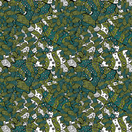 Doodles cute pattern. Seamless Beautiful fabric pattern. Vector - stock. Green, black, white, gray and blue on colors. It can be used on wallpaper, mug prints, wrapping boxes etc. Nice background.