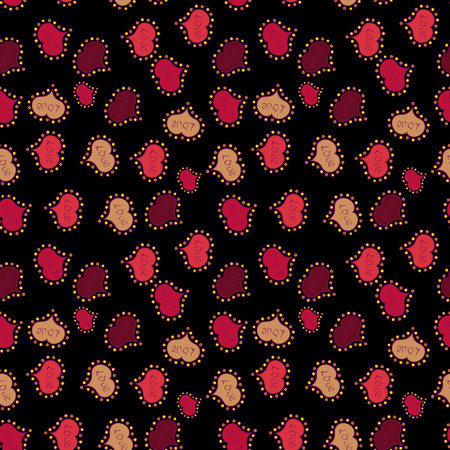 Seamless Love pattern with hand drawn doodle hearts. Valentines Day design. Elements on black, orange and red colors.