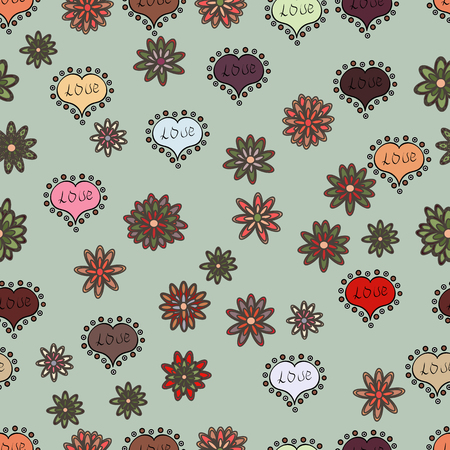 Vector illustration. Heart pattern. Seamless Geek valentine':s day hearts background. Valentine':s with gray, brown and black elements.