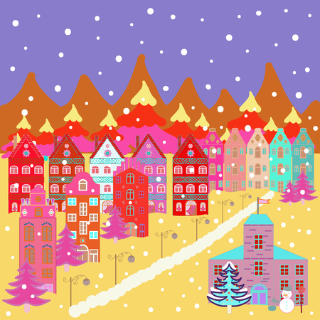 Merry christmas card with house. Happy new year. Cute buildings on violet, yellow, pink and orange colors. Vector illustration.