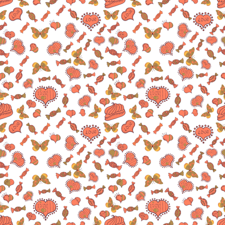 White, pink and brown version. Vector illustration. Cute and colorful candy sweet seamless pattern on white, pink and brown background. Isolated.