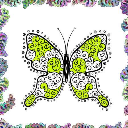 Abstract seamless pattern for clothes, boys, girls, wallpaper. Vector. Vector with butterfly. Illustration in white, green and black colors. Vector Illustration