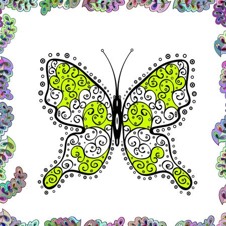 Abstraktes nahtloses Muster für Kleidung, Jungen, Mädchen, Tapete. Vektor. Vektor mit Schmetterling. Illustration in den Farben Weiß, Grün und Schwarz. Vektorgrafik