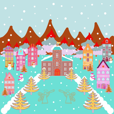 Vector cartoon drawing of Christmas suburban houses with making a snowman. Illustration on neutral, blue and orange colors. Vector illustration.
