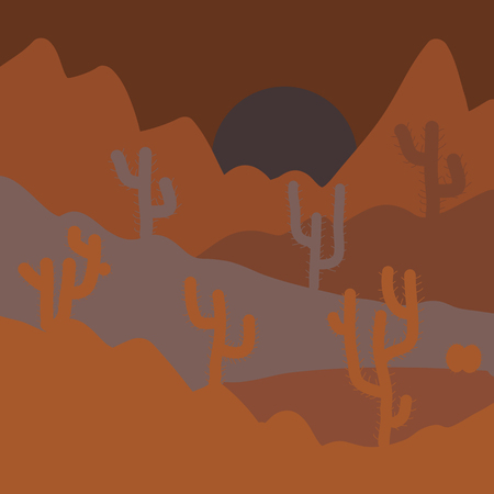 Sands with cactus. Wild cactus on deserts. Stylish brown and orange colors. Vector illustration.
