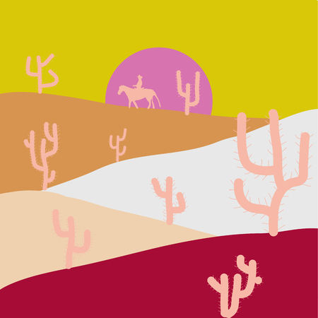 In simple minimalistic flat style. Composition. Soft nature landscape with yellow, purple and beige sky, desert, mountains. Scene for your design. Vector. Imagens