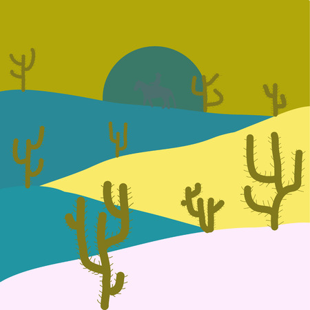 Flat Design Style. Vector illustration. Desert Landscape with Cactus and Mountains. Scenic sandstones. Background on yellow, blue and neutral colors.