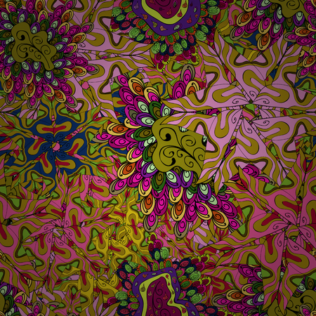Seamless pattern Abstract nice background. Yellow, pink and black on colors. Vector illustration. Doodles pattern for wrapping paper. Ilustração