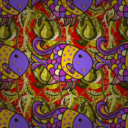 Colorful cute texture fish pattern. Vector illustration. Fishe on gray, violet and yellow colord. Seamless colorful background.