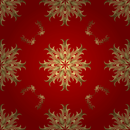 Retro textile collection. Simple Christmas seamless pattern with geometric motifs. Snowflakes with different ornaments. Elements with red, neutral and yellow colors. Vector illustration.