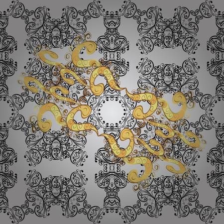 Ornamental classic vector gray, black and yellow and golden pattern. Traditional orient ornament. Classic vintage background. Vectores