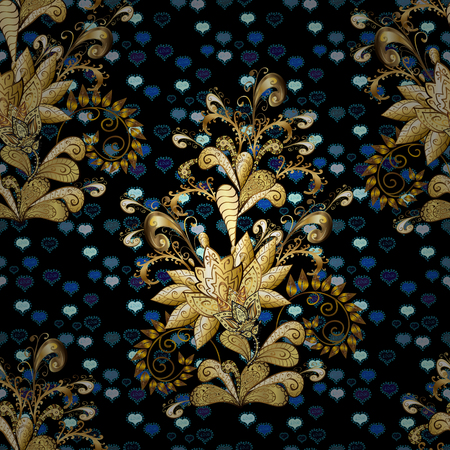 Eastern style element. Vector illustration for invitations, cards, web page. Line art seamless border for design template. Golden element on black, blue and brown colors. Golden outline floral decor.