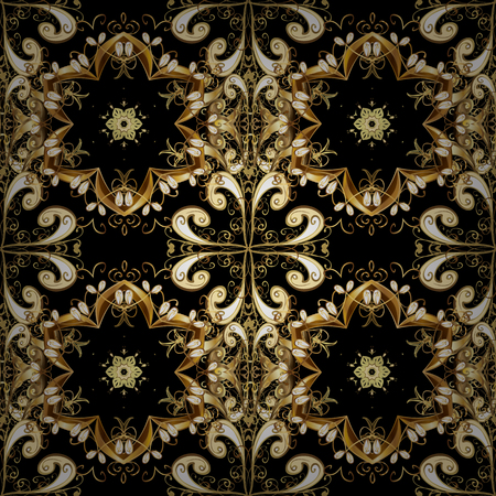 Doodles black, brown and beige on colors. Vector. Print. Nice fabric pattern. Design. Flat elements. Foto de archivo - 107002229
