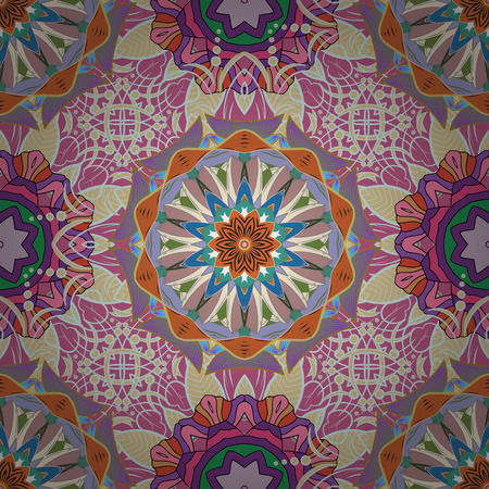 Tribal, Boho, Bohemian style. Ornament neutral, pink and beige colored card with mandala. Geometric circle illustration element. Kaleidoscope, medallion, yoga, india, arabic.