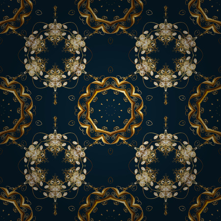 Illustration seamless pattern with gold antique floral medieval decorative, leaves and golden pattern ornaments on blue, brown and yellow colors. Seamless royal luxury golden baroque damask vintage.