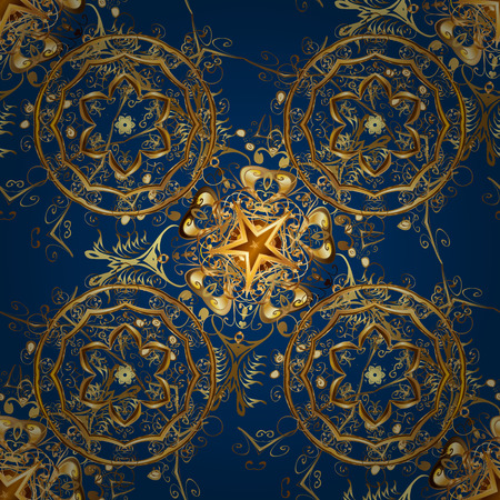 Seamless classic golden pattern. Illustration traditional orient ornament. Golden pattern on blue, brown and yellow colors with golden elements.