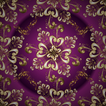 Illustration illustration. Perfect for wallpapers, web page backgrounds, surface textures, textile. In vintage style. Swirl and curl pattern on purple, brown and beige colors. Seamless.