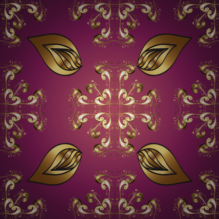 Purple, red and brown ornamental, floral seamless pattern. Vintage. Traditional, Ethnic, Turkish, Indian motifs. Great for fabric and textile, wallpaper, packaging or any desired idea. Illustration sketch.
