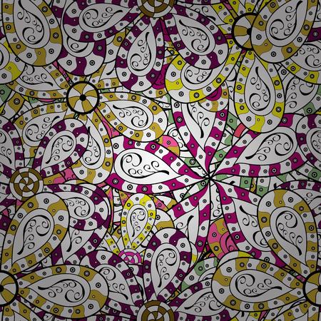 Modello senza cuciture con foglie. Illustrazione sveglia dell'illustrazione dei fiori eleganti. Sfondo per poster o copertina. Figura per i tessuti. Elementi floreali decorativi per inviti e cartoline. Vettoriali