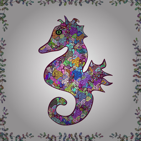 White, purple and turquoise sea life. Watercolor illustration. Summer exotic symbol. Illustration. Hand drawn illustration. Funny Sea Horse. Cute seamless pattern for girls, boys, clothes, wallpaper.