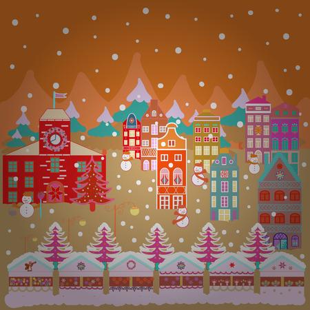 Illustration pattern with various cartoon houses. Christmas illustration on orange, beige and neutral colors. Illustration illustration. Stockfoto - 111607784